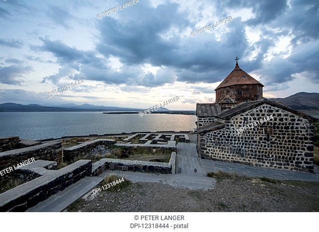 Surp Astvatsatsin (Holy Mother of God Church) of the Sevanavank (Sevank Monastery) overlooking Lake Sevan; Gegharkunik Province, Armenia