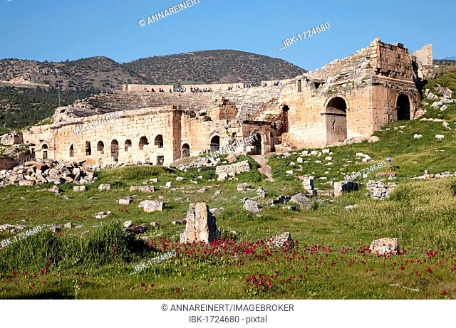 Ruins of the ancient theater at Hierapolis, world cultural heritage, Turkey