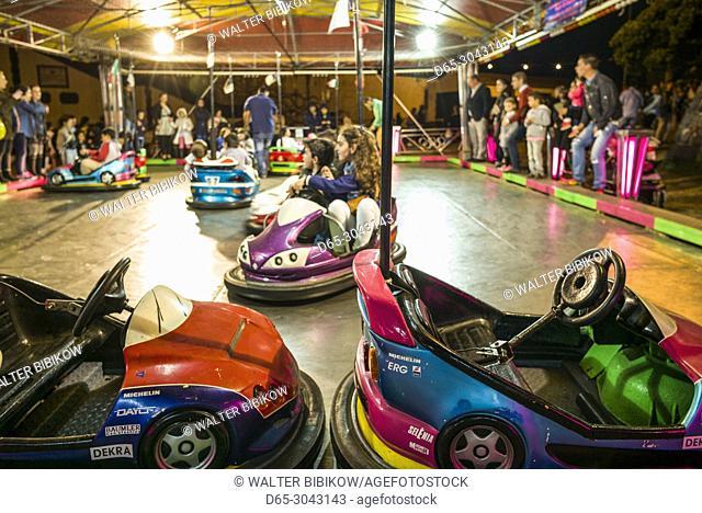 Portugal, Azores, Sao Miguel Island, Ponta Delgada, Festa Santo Christo dos Milagres festival, bumper car carnival ride