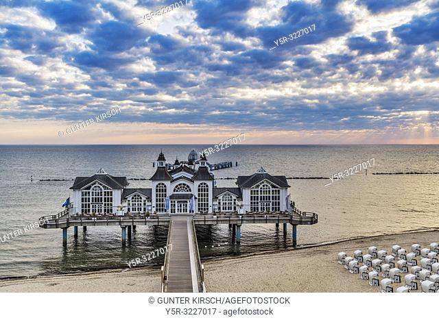 The Sellin Pier is a pier at the Baltic Sea. The pier is 394 meters long. It was inaugurated in 1998, Sellin, Ruegen Island, County Vorpommern-Ruegen