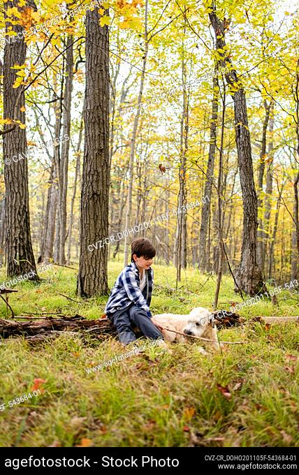 Young boy playing in the woods with his dog on an autumn day