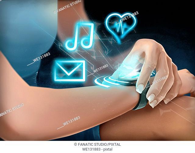 Illustration of woman wearing futuristic wristwatch