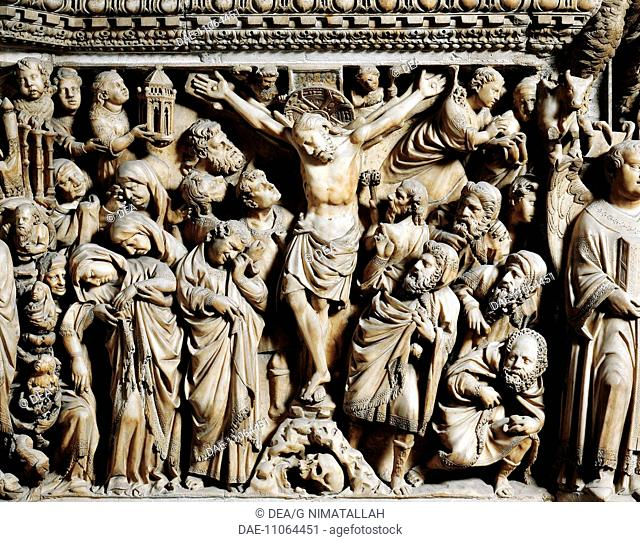 The Crucifixion, detail from the Pulpit, 1265-1269, by Nicola Pisano (active 1258-1278). Siena Cathedral (World Heritage Site by UNESCO, 1995), Tuscany