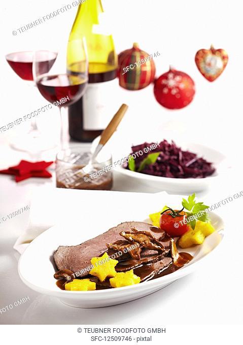 Braised beef with polenta stars