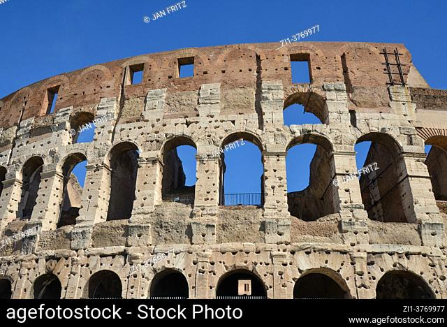 exterior of Colosseum in Rome, Italy