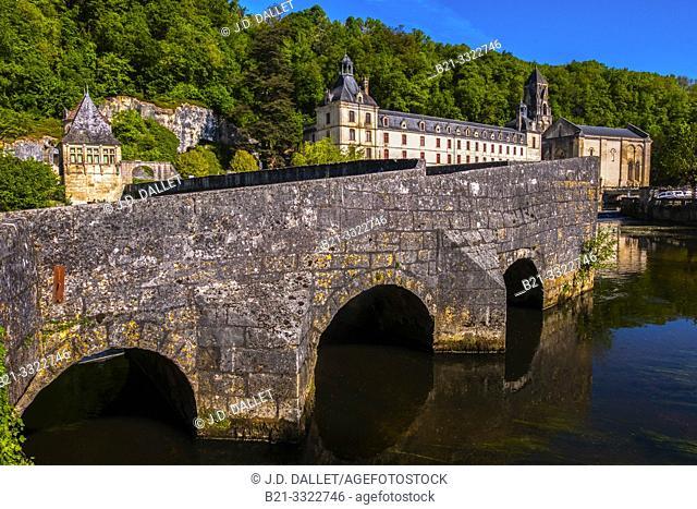 France, Nouvelle Aquitaine, Dordogne, Abbey by the Dronne river, at Brantome