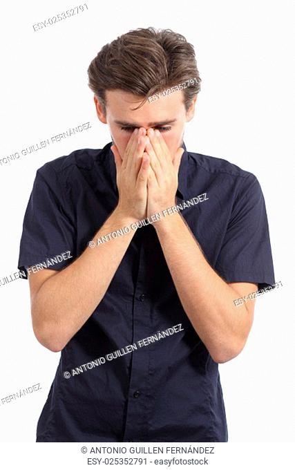 Ashamed or worried man covering mouth with his hands isolated on a white background