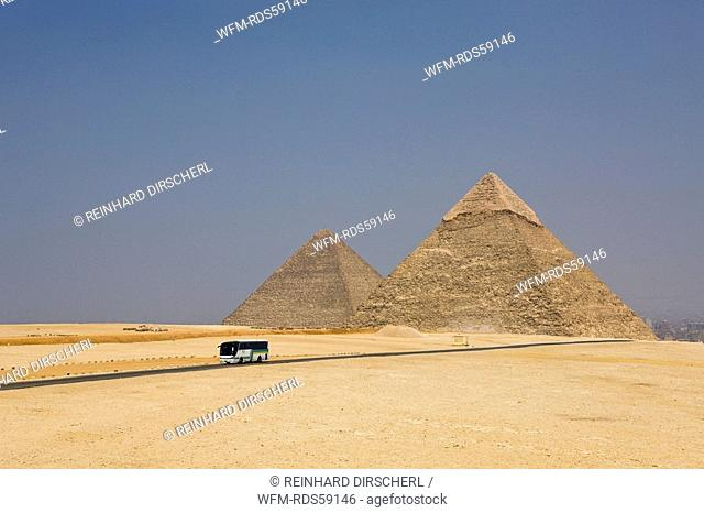 Pyramid of Khafra with Pyramid of Cheops in Background, Cairo, Egypt