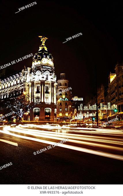 Gran Via at night. Madrid. Spain