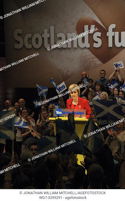 SCOTLAND Perth -- 17 Sep 2014 -- Deputy First Minister Nicola Sturgeon gives her last speech on the eve of the Scottish Independence Referendum with Yes...