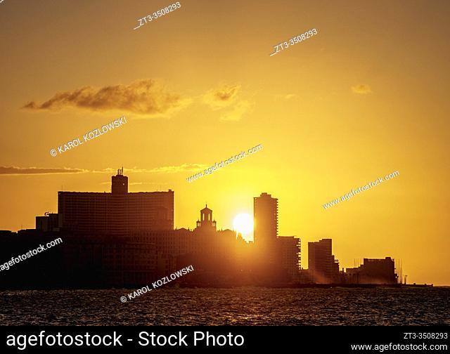 El Malecon, Centro Habana and Vedado at sunset, Havana, La Habana Province, Cuba