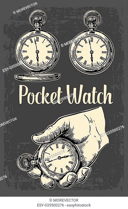 Antique pocket watch. Vector vintage engraving illustration