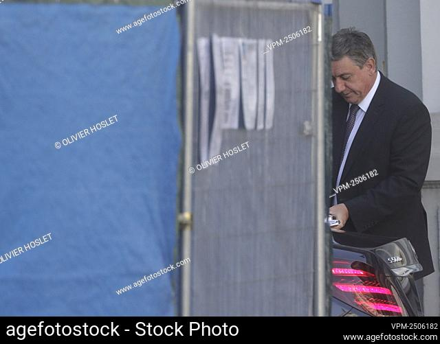 Flemish Minister President Jan Jambon arrives for a meeting of the National Safety Council, consisting of politicians and intelligence services