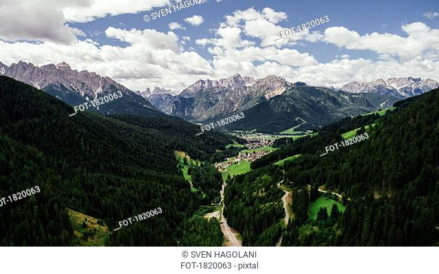 Scenic view majestic mountains and lush green valley, Drei Zinnen Nature Park, South Tyrol, Italy