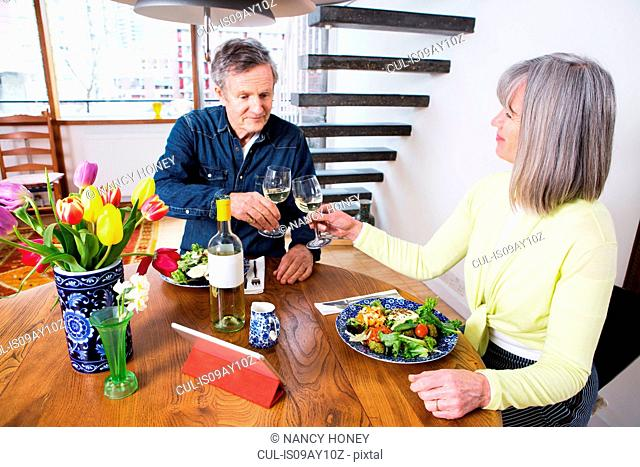 Couple toasting at dining table
