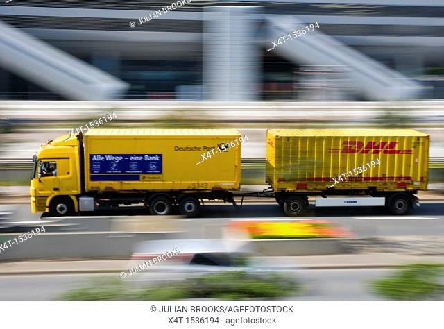 a delivery lorry travelling at speed along the autobahn in Frankfurt
