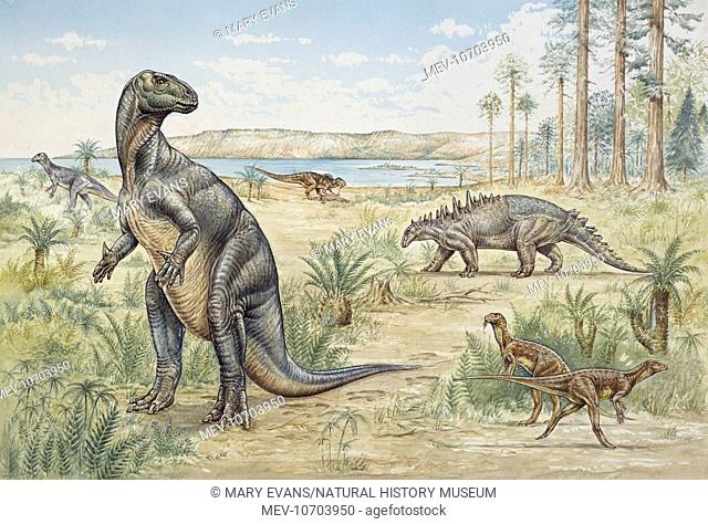 An illustration showing a scene in Lower Cretaceous (145 - 100 million years ago) South East England, featuring the following dinosaurs from the left: Iguanodon