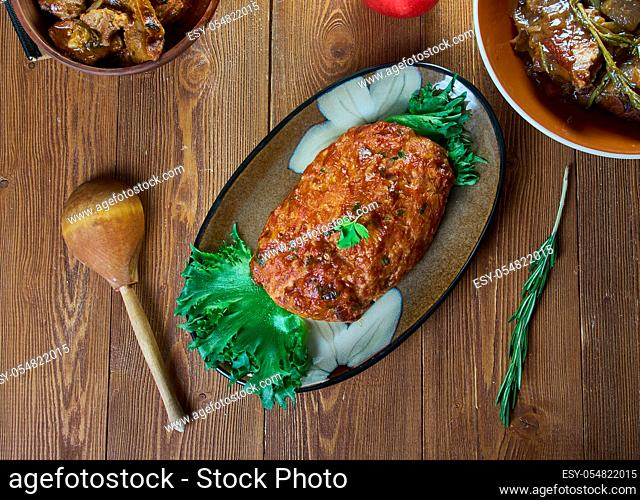 Belgian Meatloaf, Belgian national cuisine, Traditional assorted Asia dishes, Top view
