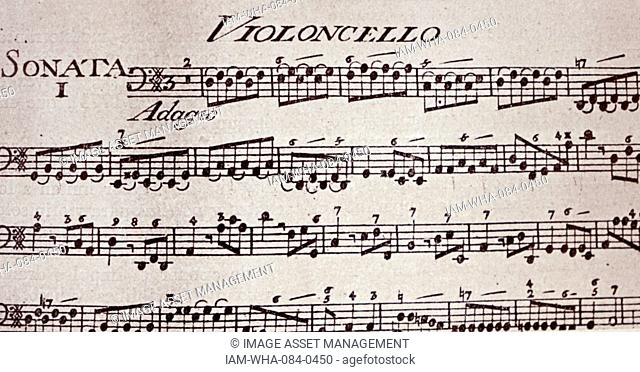 Sheet music by Jean-Pierre Guignon (1702-1774) an Italian violinist and composer. Dated 18th Century