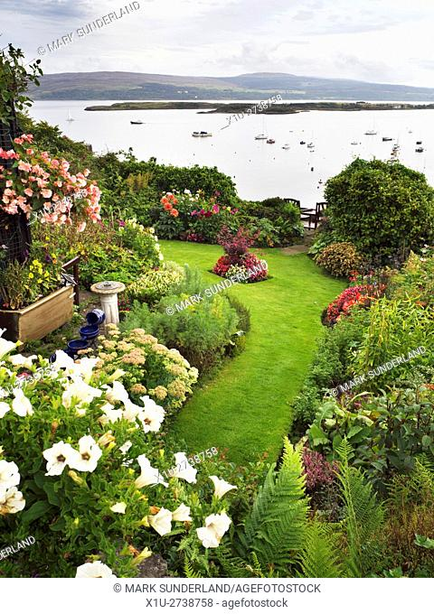 Garden on Argyll Terrace Overlooking Boats in the Sound of Mull Tobermory Mull Argyll and Bute Scotland
