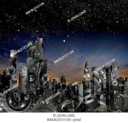 City skyline made out of gears under night sky