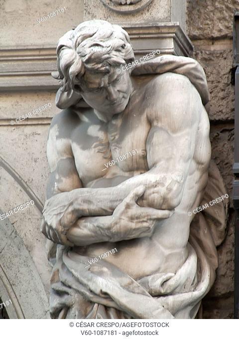 Sculpture on facade, Wien, Austria