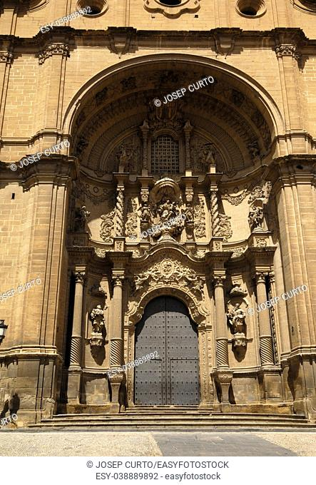 Entrance of Santa Maria la Mayor church, Alcaniz, Teruel province, Aragon, Spain