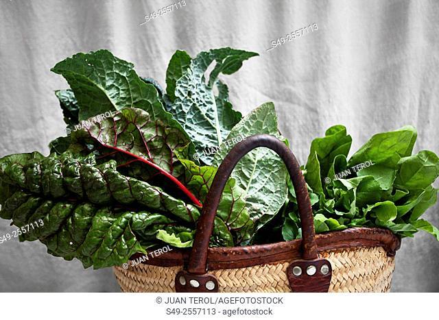 Green vegetables in a basket