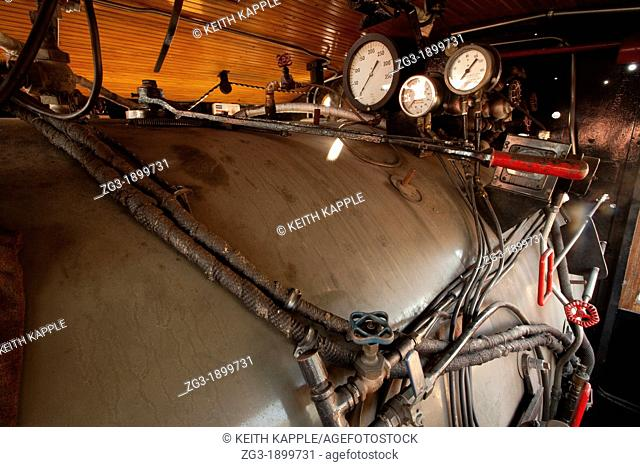 Gauges and parts of a Steam Locomotive, Texas State Railroad, 1881, Rusk Texas