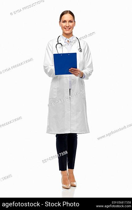 happy female doctor with clipboard and stethoscope