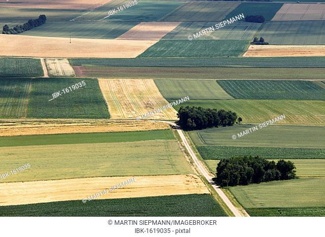 Agricultural landscape, view from Hesselberg mountain, Middle Franconia, Franconia, Bavaria, Germany, Europe