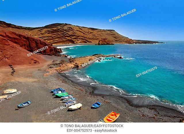 Lanzarote El Golfo Atlantic ocean beached boats in Canary Islands