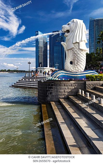 The Merlion Monument and park, Downtown Core, Singapore