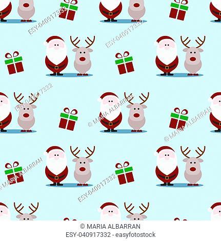 Santa Claus seamless pattern on blue background. Flat vector Illustration