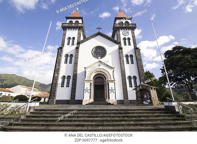 Parish church in Furnas village in Sao Miguel island Azores Portugal on January 9, 2018