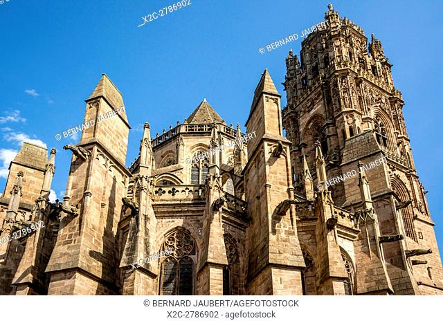 Rodez. Bell tower of the Cathedral Notre Dame. Aveyron. France. Europe