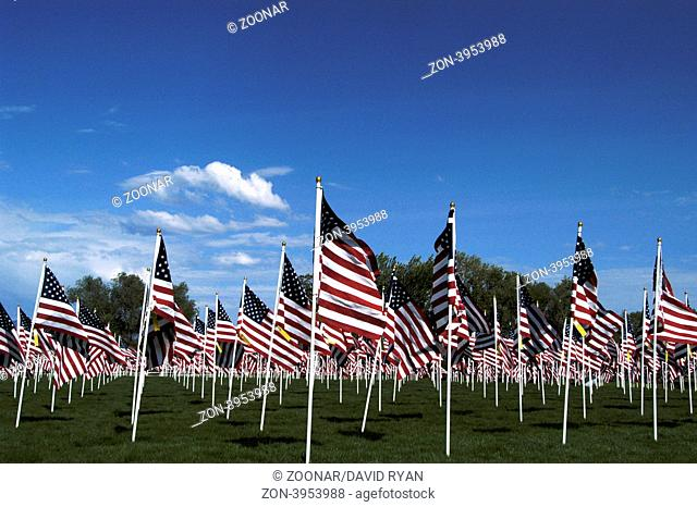 A Field of American Flags on Memorial Day Holiday Field of Honor at Merrill Park, Eagle, Idaho