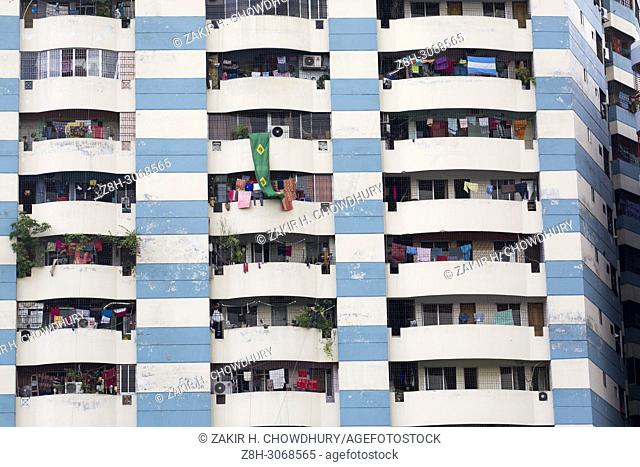 DHAKA, BANGLADESH - JUNE 12 : multi storied building seen at New Market area during the Ramadan in Dhaka , Bangladesh on June 12, 2018