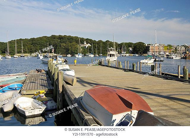 A dock in a Cape Cod village  Woods Hole, Falmouth, Cape Cod, Massachusetts, United States