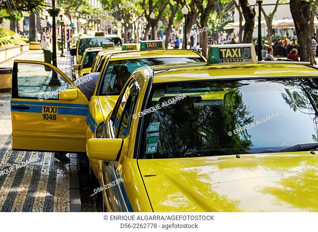 Taxi drivers on the streets of Funchal, Madeira Island, Portugal