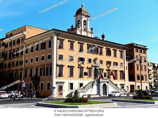 Palazzo Communale at Piazza del Municipio in Livorno (Italy), 19 July 2017. | usage worldwide. - Livorno/Toskana/Italy
