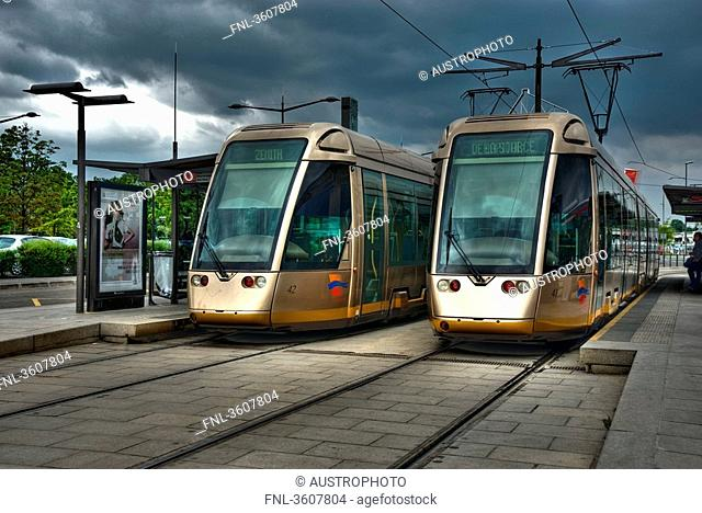 Two tram lines at a station, Orleans, France