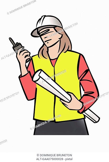 Illustration of female construction supervisor