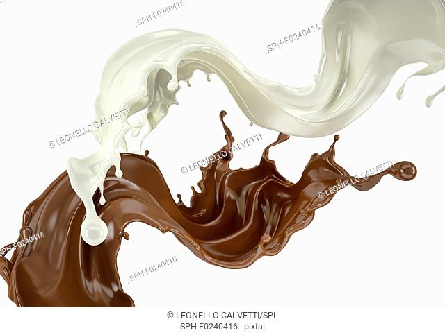Milk and chocolate , or paint splashes flying in the air. On white background