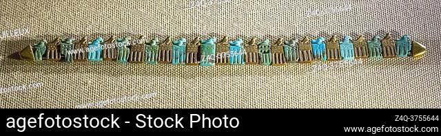 Egypt, Cairo, Egyptian Museum, among the 4 bracelets found in the tomb of king Djer, First Dynasty, Umm el Qaab, Abydos, one depicts the god Horus standing on a...