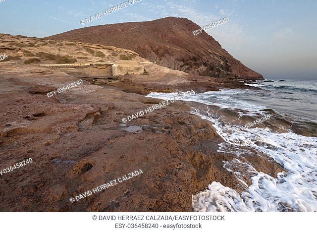 Idyllic volcanic beach landscape in El Medano, Tenerife, Spain