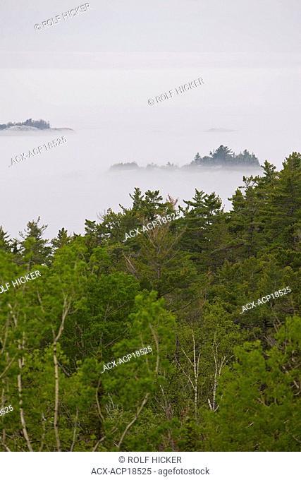 Lake Superior shrouded by fog near Lizard Island, Lake Superior Provincial Park, Ontario, Canada