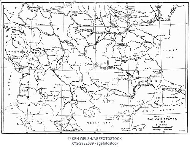 Map of the Balkan States in 1914. From Hutchinson's History of the Nations, published 1915