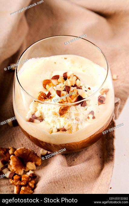 Coffee, dessert. Affogato on the table