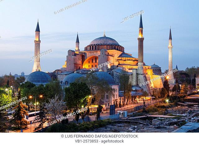 Hagia Sophia floodlit at dusk. Istanbul, Turkey